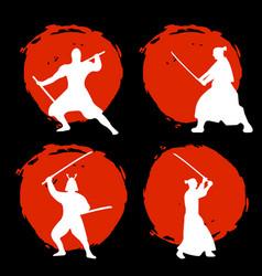 Set of samurai warriors silhouette on red moon vector