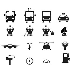 set transportation icons vector image