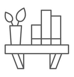 shelf thin line icon furniture home bookshelf vector image