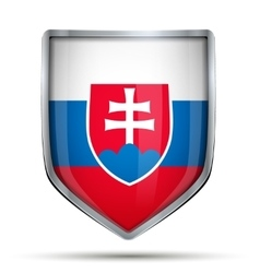 Shield with flag slovakia vector