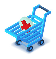 Shopping cart medicine sign icon isometric style vector