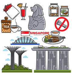 Singapore travel tourist landmark symbols and vector