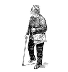 Sketch an old townswoman walking with a stick vector