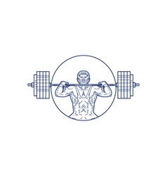 Strongman Lifting Weight Mono Line vector
