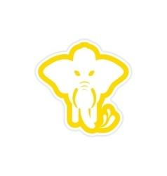 Stylish paper sticker on white background elephant vector