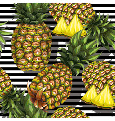 Summer seamless pattern with handdrawn pineapple vector