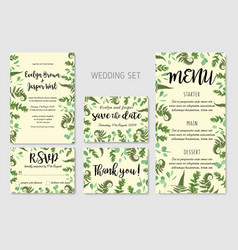 wedding invitation floral invite thank you rsvp vector image
