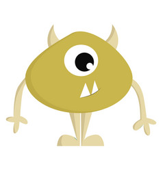yellow monster with one eye and horns on white vector image