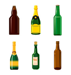 alcohol bottle icon set cartoon style vector image vector image