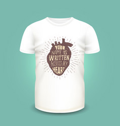 t-shirt print design with human heart silhouette vector image vector image