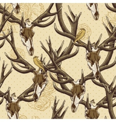 Vintage seamless background with a deer skull vector image