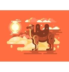 Camel in desert flat vector image vector image