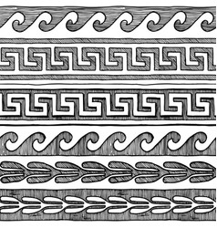 greek wave and meander vector image