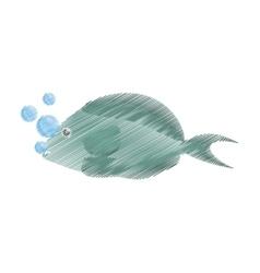 hand drawing fish aquarium ornament habitat vector image vector image