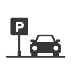parking area sign with car on white background vector image