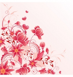 red floral background with ornament vector image vector image