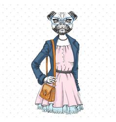 Retro hipster fashion animal pug dog woman model vector