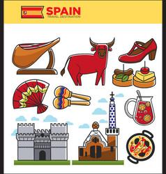 spain travel famous landmark symbols and spanish vector image vector image