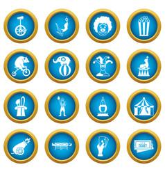 circus entertainment icons blue circle set vector image vector image