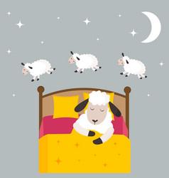 counting sheep to fall asleep vector image