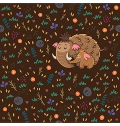 Cute floral seamless pattern with mammoths vector image
