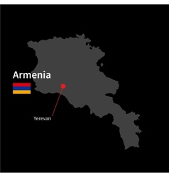 Detailed map of Armenia and capital city Yerevan vector image vector image