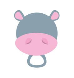 head cute hippo animal image vector image vector image