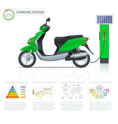infographics and trendy electric scooter charging vector image vector image