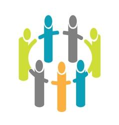 People around circle logo vector image vector image