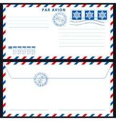Airmail envelope on black vector image
