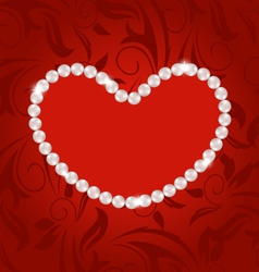 Floral postcard with heart made in pearls for vector image vector image
