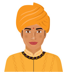 indian young man in the traditional clothing vector image