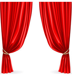 Red curtain isolated on a white background vector image vector image