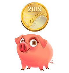 2019 gold coin and funny pig symbol of year vector