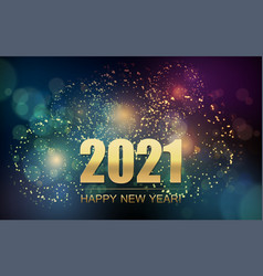 2021 new year abstract background with fireworks vector image