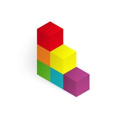 3d color cubes vector
