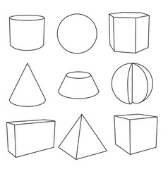 3d geometric shapes in flat outlines vector image