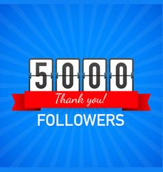 5000 followers thank you social sites post thank vector