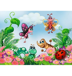 A garden with insects vector