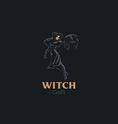 A witch holds a bat in her hand vector