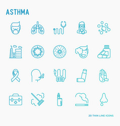 Asthma thin line icons set vector