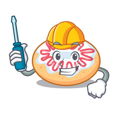 Automotive jelly donut mascot cartoon vector