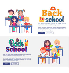 Back to school collection of posters on white vector