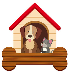 banner template with cute dog and cat at pethouse vector image
