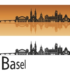 Basel skyline in orange vector