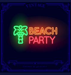 Beach bar neon light sign vector