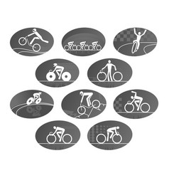 Bicycle cycling race sport icons set vector