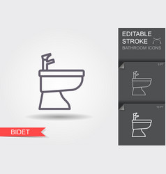 bidet line icon with editable stroke with shadow vector image