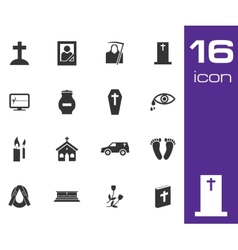 Black funeral icons set on white background vector