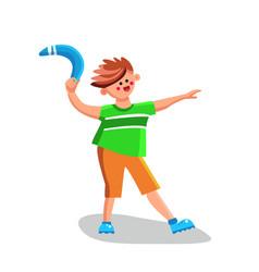 Boy throwing boomerang playing equipment vector
